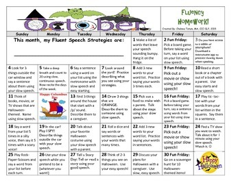 October 2015 Fluency Calendar