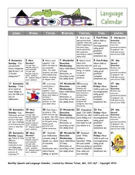 October 2015 Language Calendar
