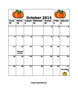 October 2015 blank calendar