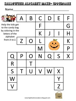 October 2015 freebie-Halloween Uppercase Alphabet Maze