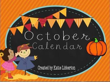 October First Grade ActivInspire Calendar & More