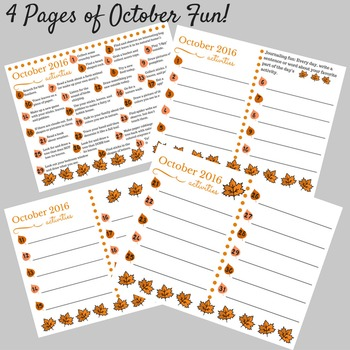 October 2016 printable daily activities calendar and mini-journal for children