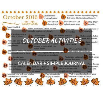 October 2016 printable daily activities calendar and mini-