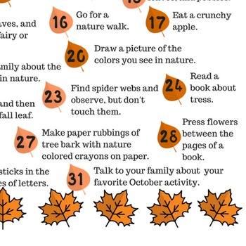 October 2016 printable daily activities calendar for children and families