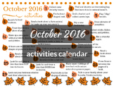 October 2016 printable daily activities calendar for child