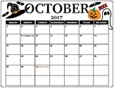 October 2017 Calendar Full Color