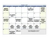 October 2017 Calendar and Quiz
