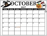 October 2017 Color Calendar
