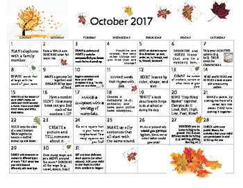 October 2017- Early Learning Calendar