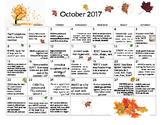 October 2017- Early Learning Calendar
