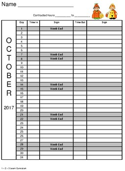 October 2017 Sign In Sheets