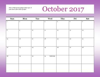 October 2017 Teacher Calender
