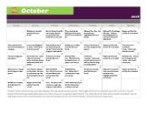 October 2018 Articulation Practice Calendar