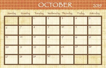 october 2018 calendar 11x17 by drawn to learn tpt