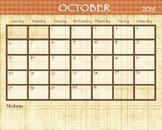 October 2018 Calendar - 8x12