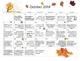 October 2018- Early Learning Activity Calendar
