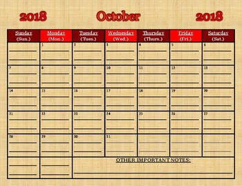 October 2018 PDF calendar (you MUST print/write on lines)