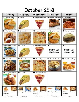 October 2018 Picture Lunch Menu