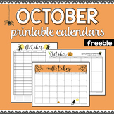 October 2018 Printable Monthly, Weekly, and Hourly Calendars - FREEBIE