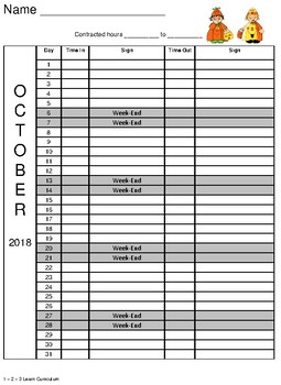 October 2018 Sign In Sheets