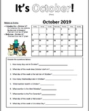 October 2019 Calendar Practice Pages