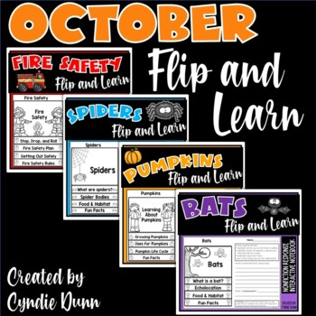 October Flip and Learn Reading Passages and Comprehension Interactive Notebook