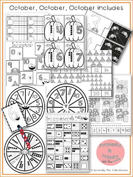 October! 7 Math Centers for Counting & Cardinality! Count and Recognize Numbers!