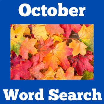 October Activity | October Word Search