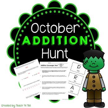 October Word Problem Addition Scavenger Hunt