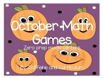 October Addition Math Centers-Zero Prep