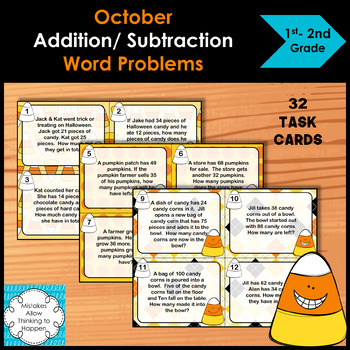 October Addition and Subtraction Word Problem Task Cards