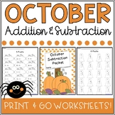 October Addition and Subtraction Worksheet Packets Bundle {Just Print & Go!}