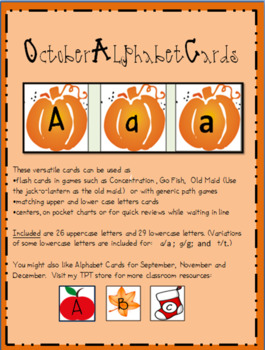 October Alphabet Cards