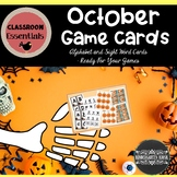 October Alphabet and Sight Word Game Cards