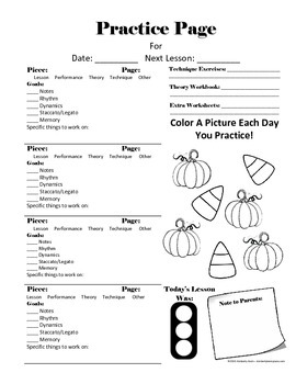 October Piano Assignment Page