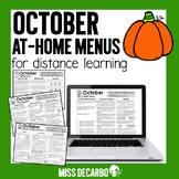 October At Home Learning Menus for Distance Learning