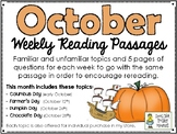 October BUNDLE of Weekly Reading Passage and Questions (4