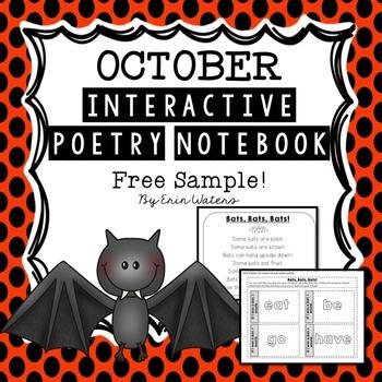 October Bat Poem & Activities {FREE Sample from Interactive Poetry Notebook}