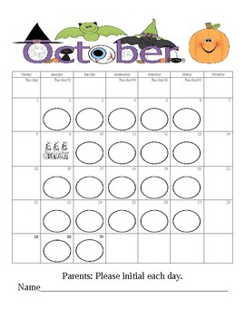 October Behavior Calendar