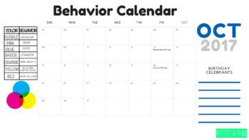 October Behavior Chart