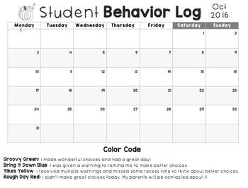 October Behavior Log (Editable)