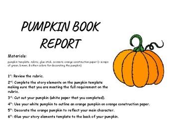 October Book Report: Story elements pumpkin