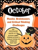 October Brain Teasers and Critical Thinking Challenges- Enrichment Folder