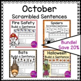 October Writing Build a Sentence and Scrambled Sentence Worksheet Bundle