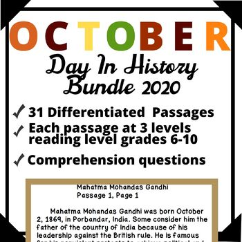 October Bundle Day in History Differentiated Reading Passage Ongoing Assessment