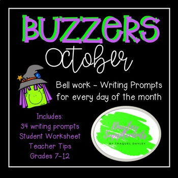 October Buzzer Packet (Bell Work-Journal) Common Core Writing Prompts