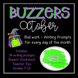 Buzzer Packet OCTOBER (Bell Work-Journal) Common Core Writ