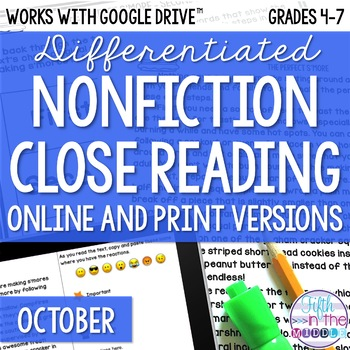 October COMBO Differentiated Nonfiction Close Reading Texts and Activities