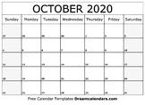 October Calendar 2019 - Printable Template