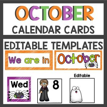 October Pocket Chart or Linear Calendar Cards